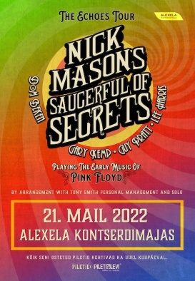 21.05.2022. 19:00 NICK MASON'S SAUCERFUL OF SECRETS - The Echoes Tour (pārcelts no 10.06.20. un 07.06.21.)